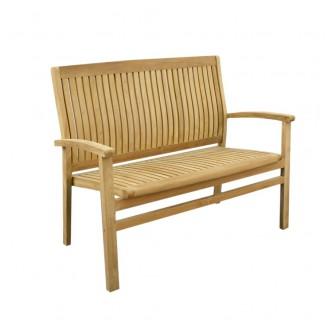 Teak ławka z ergonomicznym oparciem (120cm)
