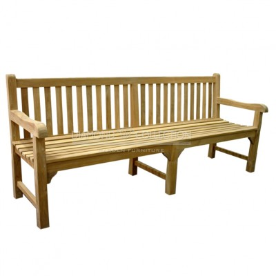 Teak ławka z prostym oparciem (220cm)