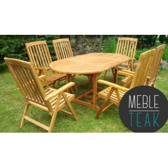 Zestaw Teak stół owalny + 6 krzeseł 5-pozycyjnych