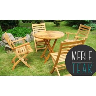 Zestaw mebli Teak stół okrągły + 4 krzesła składane + Poduszki GRATIS