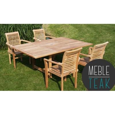 Zestaw meblowy Teak stół prostokątny + 4 krzesła