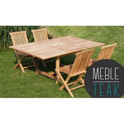Teak stół prostokątny + 4 krzesła
