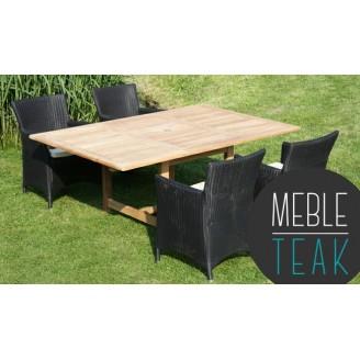 Zestaw mebli Teak stół prostokątny + 4 ratanowe krzesła