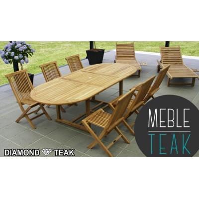 Teak stół owalny + 6 krzeseł