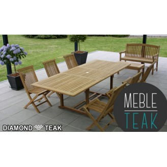 Teak stół prostokątny + 6 krzeseł