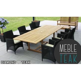 """Zestaw ogrodowy Teak stół prostokątny + 6 krzeseł """"Ratan"""""""