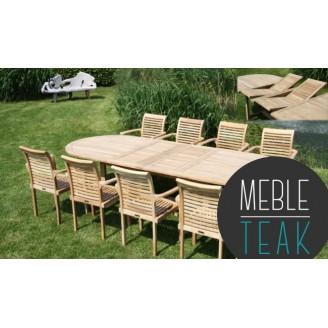 """Zestaw drewniany Teak stół owalny + 8 krzeseł """"Katedra"""""""