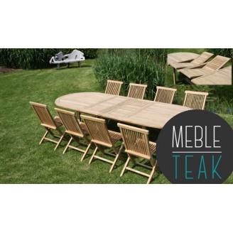 Teak stół owalny + 8 krzeseł